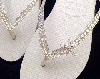 11d5a166b5cc Custom Crystal Havaianas Slim White flip flops Silver starfish ocean sea w   Swarovski Bling Wedding Dynamite Rhinestone Beach Thong Shoes