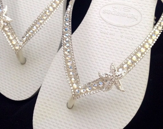 Custom Crystal Havaianas Slim White flip flops Silver starfish ocean sea w/ Swarovski Bling Wedding Dynamite Rhinestone Beach Thong Shoes
