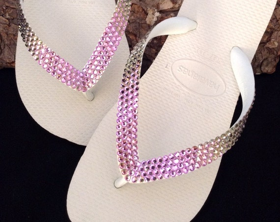 Purple Crystal Flip Flops Havaianas flat or Wedge Heel Bride Wedding Bling w/ Swarovski Vintage Vitrail Light Lilac Lavender Rhinestone Shoe