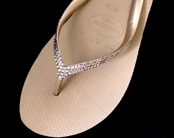 "Custom Wedge Crystal Flip Flops Rose Gold Havaianas Rhinestone Bling High 2.4"" & Low 1.5"" Heels w/ Swarovski Vintage Rose Blush Pink Shoes"