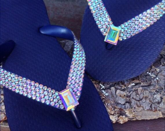 Crystal AB Flip Flops Custom Iridescent w/ Swarovski Baguette Rhinestone Havaianas or Cariris Wedge Heel Beach Wedding Sandal Bride Shoes