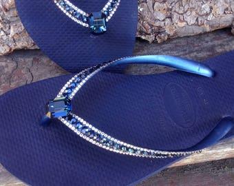 717f3d323d2c53 Blue Flip Flops Crystal Havaianas Slim Navy Montana Ocean Sea w  Swarovski  Baguette Sophisticate Wedding