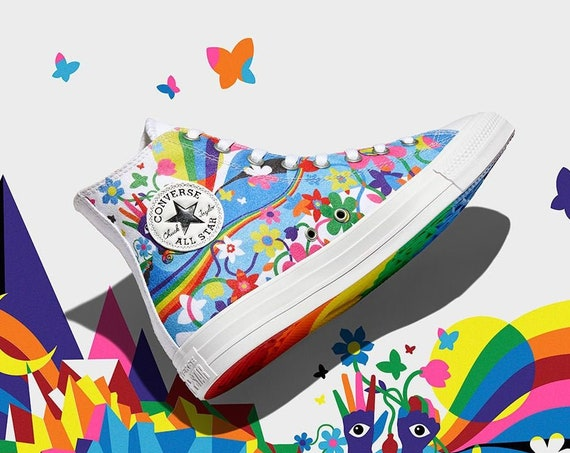 Converse Pride 2021 White High Top LGBTQ Gay Rainbow Collector Mens Chucks Custom w/ Swarovski Crystal Bling All Star Sneakers Shoes