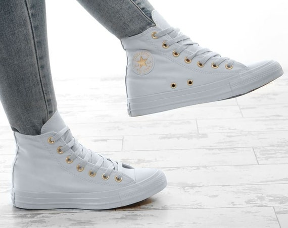 Baby Blue Converse High Top Custom Gold accent Sky w/ Swarovski Crystal Rhinestone Bling Wedding Chuck Taylor All Star Bride Sneakers shoes