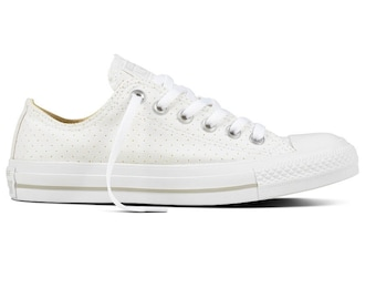 White Converse Low Top Bride Bling Perforated Air Condition Silver Canvas w/  Swarovski Crystal Chuck
