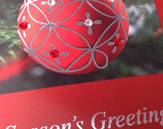 Christmas card Custom w/ Swarovski Crystal Red White Embossed Tree Ornament Ball Seasonal Happy Holidays Xmas Greeting Gift Tag w/ Envelope