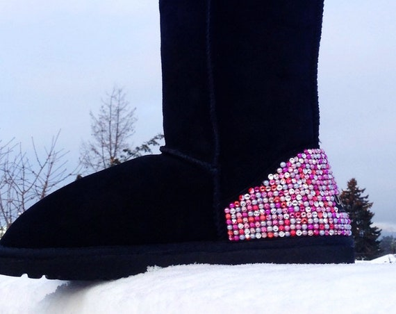 Custom Boots Rose Pink Crystal Pearl Winter Boot w/ Swarovski Candy Cane Multicolor Heels Rhinestone Bling UGG Sheepswool or Suede Shoe Gift