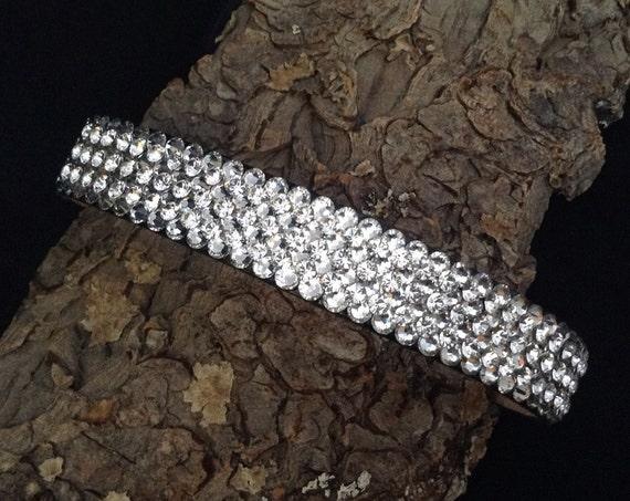 "Leather Pet Collar 12-14"" Crystal Jewelry Custom Super Bling 3D Iced Bracelets w/ Swarovski Rhinestones show Cat Dog necklace Glass Slippers"