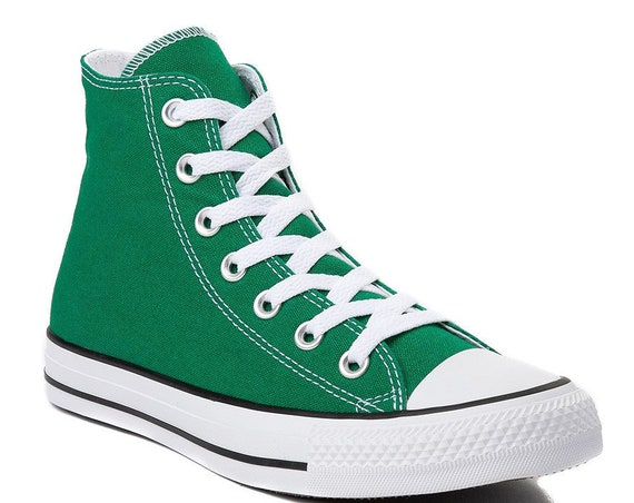 Green High Tops Converse Canvas Baskeball Custom w/ Swarovski Crystal Rhinestone Jewels Trainers Groom Mens Bridal Wedding Sneakers Shoes