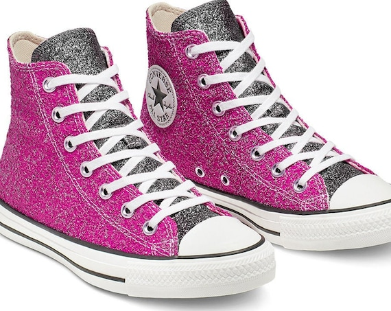 Pink Sparkle Converse Black Silver Glitter High Top Metallic Chuck Taylor Custom w/ Swarovski Crystal Rhinestone Bling All Star Sneaker Shoe