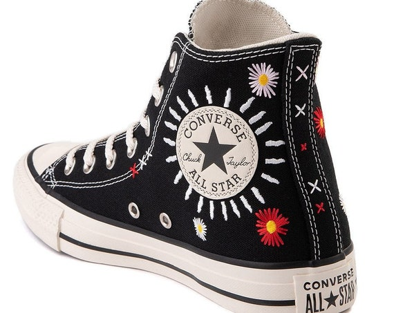 Black Floral Converse High Embroidery Friends for Life BFF Flowers Chuck Taylor Custom w/ Swarovski Crystal All Star Wedding Sneakers Shoes