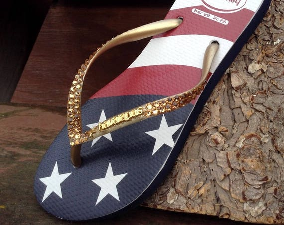 Custom USA Havaianas Slim Crystal Flip Flop w/ Swarovski Rhinestone Stars & Stripes Memorial Day Red White Blue July 4 Independence Day Shoe