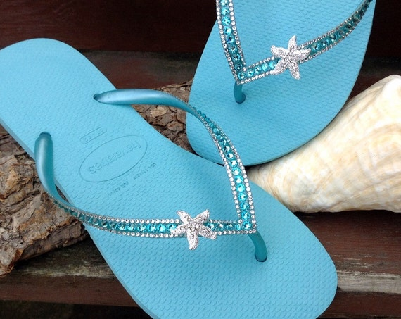 Silver Starfish Custom Crystal Havaianas Slim flip flop 39/40 US 9/10 w/ Swarovski Bling Ice Blue Turquoise Aqua Beach Wedding Sandals Shoes