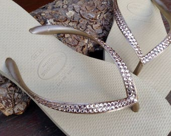 57c015e0f470 Gold Havaianas Slim Crystal Flip Flops Silk Ivory Tan Khaki Custom Bridal  Flats w  Swarovski Rhinestone Jewels Bride Slip on Wedding Shoes