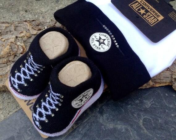Baby Converse Shower Gift Infant Girl Boy Black White Newborn New Mom Bootie Beanie Cap w/Swarovski Crystal Bling Knit Crib Christening Shoe