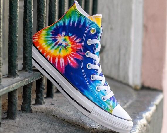 Tie Dye Converse High Tops Canvas Rainbow Custom Kicks w/ Swarovski Crystal Rhinestone Chuck Taylor All Star Ladies Mens Bride Sneaker Shoes