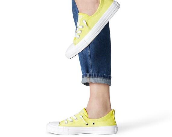 Yellow Converse Shoreline Dainty Fresh White Wedding Bride Slip ons Custom w/ Swarovski Crystal Rhinestone Chuck Taylor Sneakers Boat Shoes