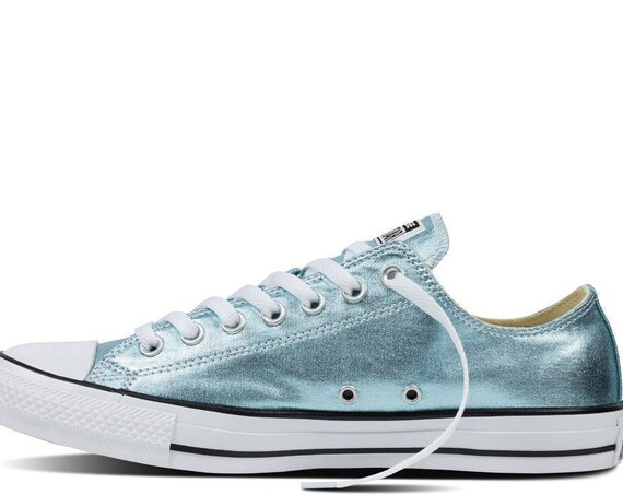 Aqua Ice Glacier Blue Converse Low Top Metallic Canvas w/ Swarovski Crystal Custom Rhinestone Chuck Taylor All Star Wedding Sneaker Shoes