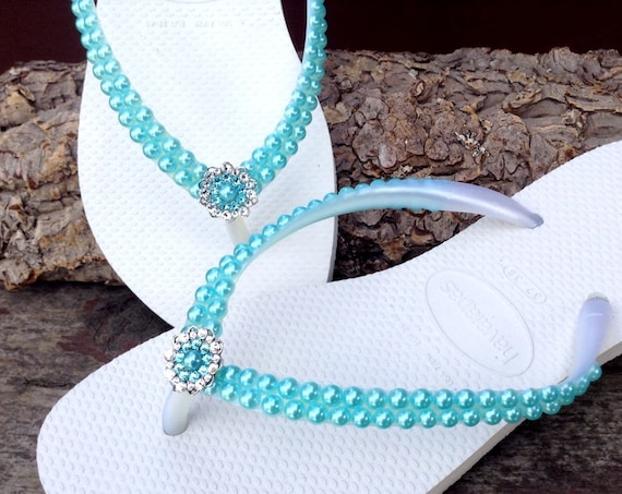 Pearl Havaianas Slim flip flops Custom Turquoise Aqua Sky Blue w/ Swarovski Crystal Silver Filigree Bridal Bridemaid Beach Wedding shoes