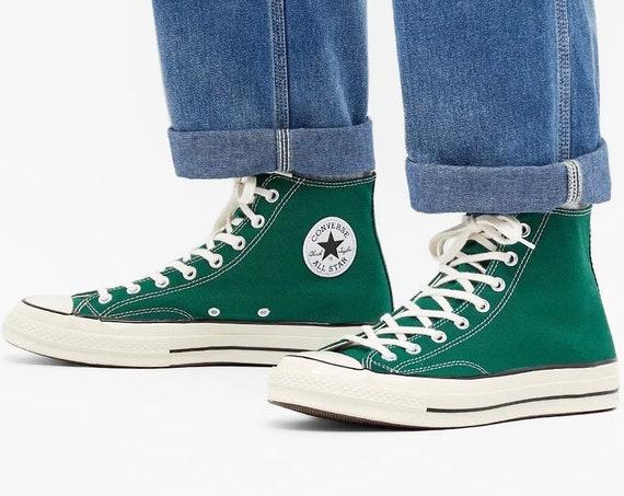 Clover Green Converse Midnight High 70s Mens Basketball Custom w/ Swarovski Crystal Rhinestone Jewel Groom Mens Bride Wedding Sneakers Shoes