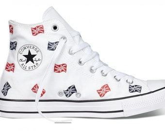 af4c7035de3c White Converse Union Jack Ladies Red White Blue Embroidery UK Flag British  High Top w  Swarovski Crystal Chuck Taylor All Star Sneakers Shoe