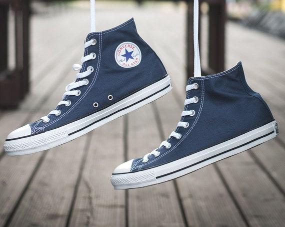 Navy Blue Converse High Top Mens Ladies Bridal Kicks w/ Swarovski Crystal Rhinestone Bling Wedding Groom Chuck Taylor All Star Sneakers Shoe