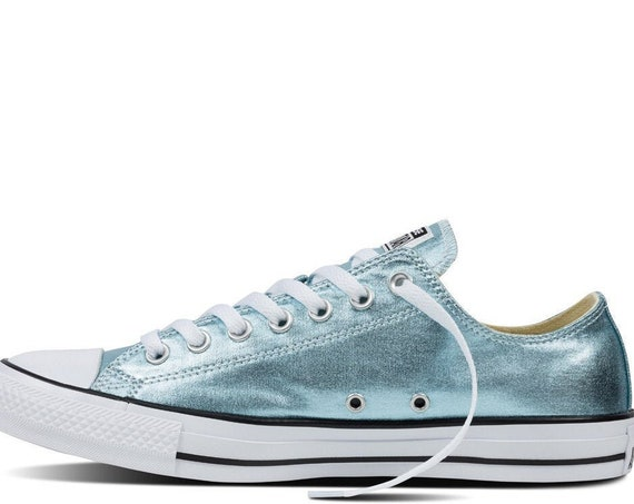 Mint Green Blue Ice Aqua Converse Low Top Metallic Canvas w/ Swarovski Crystal Custom Rhinestone Chuck Taylor All Star Wedding Sneaker Shoes
