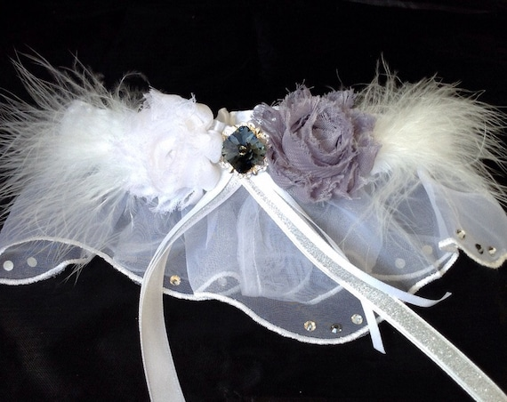 Wedding Garder Belt Silver White Feather Blue Gray Seal w/ Vintage Swarovski Crystal Shabby Chic Rose  Gift Toss Bling Bridal Accessory
