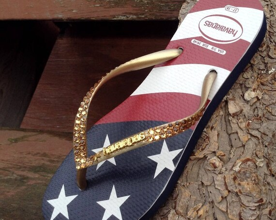 USA Havaianas Slim Crystal Flip Flops Custom w/ Swarovski Gold Rhinestone Stars & Stripes Memorial Red White Blue July 4 Independence Shoes
