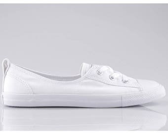 5b067a74d9c6 White Converse Slip On Custom Low Top Ballet Lace Wedding Bridal Shoe Mono  w  Swarovski Crystal Chuck Taylor Rhinestone All Star Sneakers