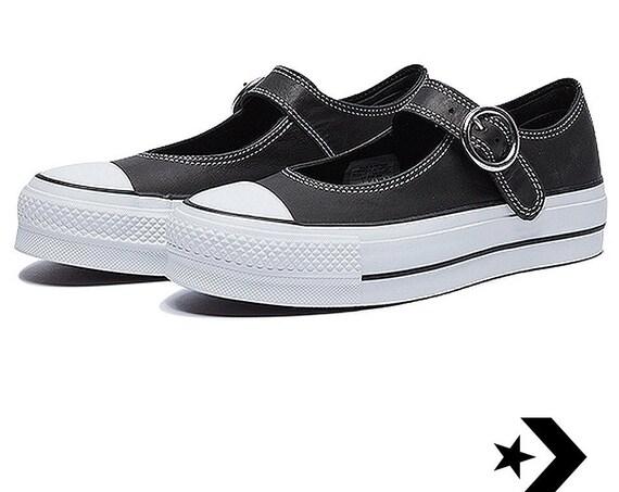 Black Mary Jane Crystal Converse Leather Platform slip on Strap Buckle Custom w/ Swarovski Jewel Bling Wedding Vacation Summer Walking Shoes