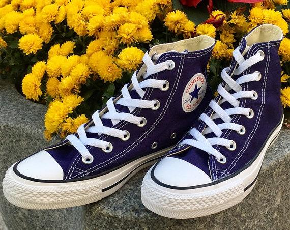 Blue Indigo Converse Purple High Tops Midnight Navy Custom Bride Bling w/ Swarovski Crystal Rhinestone Chuck Taylor Wedding Sneakers Shoes