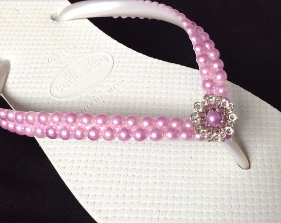 Purple Pearl Flip Flops White Havaianas Slim Violet Amethyst Lavender Lilac w/ Swarovski Crystal Silver Filigree Custom Bride Wedding Shoes