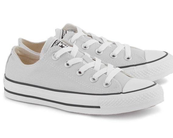 Light Gray Converse Low Top Mouse Grey Custom Kicks w/ Swarovski Crystal Jewel Rhinestones Chuck Taylor All Star Bride Wedding Sneakers Shoe