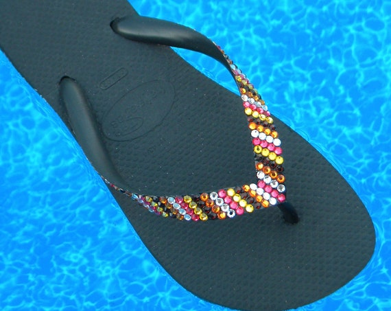 Rainbow Flip Flops Coral Blush Custom Crystal Havaianas flat Cariris Wedge Heel Stripe Multicolor w/ Swarovski Rhinestone Jewel Bling Shoes