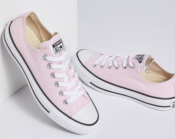 Pale  Pink Converse Petal Blush Rose Custom Low Top w/ Swarovski Crystal Rhinestone Bling Chuck Taylor All Star Bride Wedding Sneakers Shoe