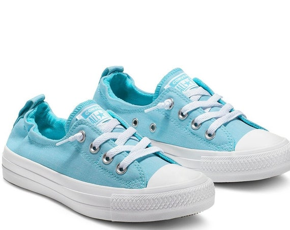Baby Blue Converse Low Top Shoreline Powder Aqua Slip on Custom w/ Swarovski Crystal Rhinestone Chuck Taylor Bride Wedding Sneakers Shoes