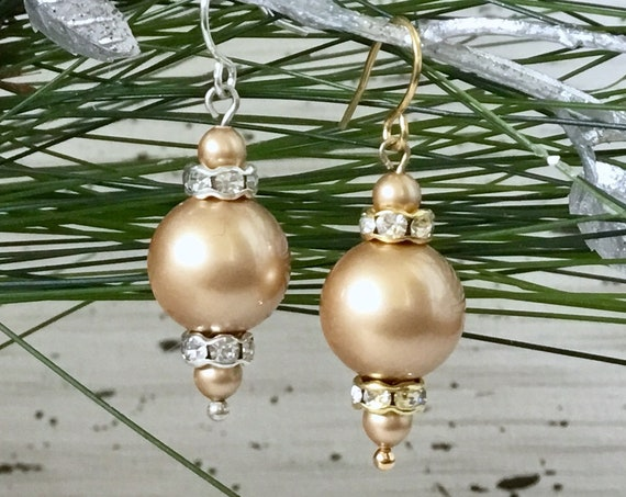 Vintage Golden Chandelier Pearl Earring Swarovski Crystal Pearls Elegant Gold Silver Drop Dangle Hooks Titanium Hypo Allergy Ladies Gifts