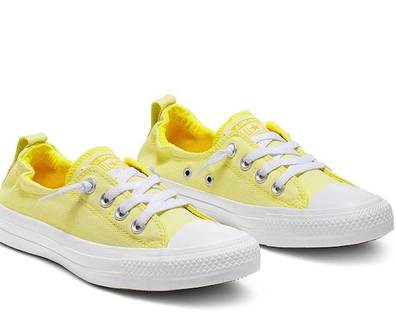 Yellow Crystal Converse Slip on Shoreline Dainty Lemon White Custom w/ Swarovski Rhinestone Chuck Taylor All Star Bling Wedding Sneaker Shoe