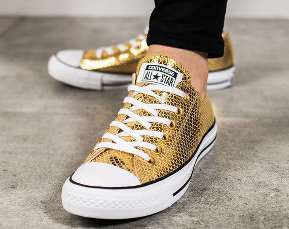 Gold Converse Low Top Leather Snake Kicks w/ Swarovski Crystal Rhinestone Bling Chuck Taylor All Star Bridal Wedding Bride Sneakers Shoes