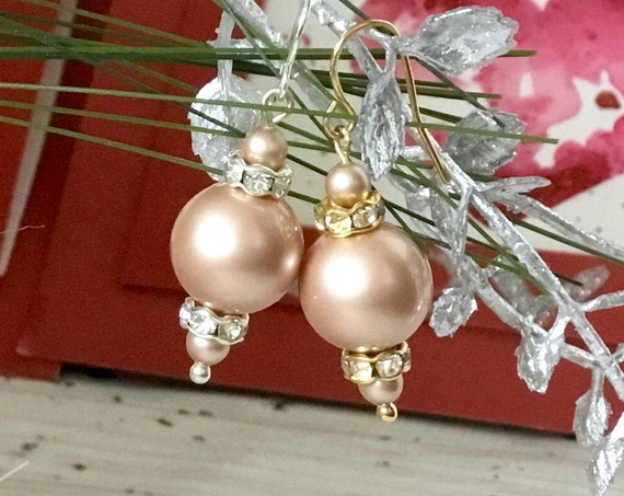 Crystal Pearl earrings Cream Powder Almond Gold Chandelier Swarovski Pearls Silver Golden Drop Dangle Hook Titanium Hypo Allergy Ladies Gift
