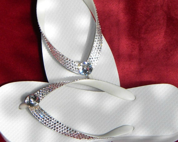 Crystal Wedding Flip Flops Havaianas flat Cariris Wedge Custom Bling w/ Swarovski Rhinestone Vintage Jewel +80 gem shades Beach Bride Shoes