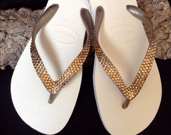 Gold Havaianas Flip Flops Metallic Beige Ivory Cream Golden Tan Custom w/ Swarovski Crystal Bling Rhinestone Wedding Grad Prom Sandals Shoes