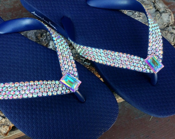 Crystal AB Navy Blue Flip Flops Iridescent w/ Swarovski Baguette Rhinestone Havaianas or Cariris Wedge Heel Beach Wedding Sandal Bride Shoes