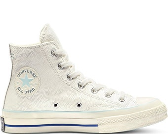 04713cac4b4725 Baby Blue White Converse High Tops Leather Vintage 70s Custom Chuck Taylor  Kicks w  Swarovski Crystal Jewels All Star Wedding Sneakers Shoes