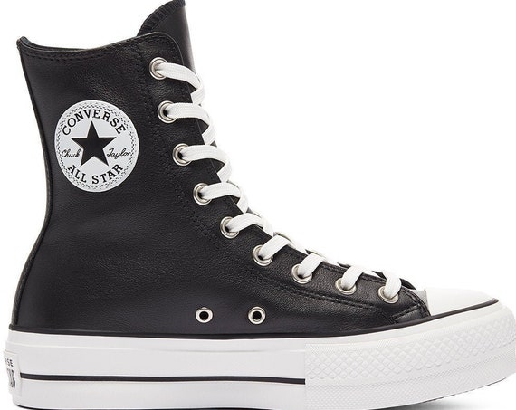 Converse Black X High Top Boot Leather Platform Wedge Lift Club Kicks w/ Swarovski Crystal Rhinestone Chuck Taylor All Star Sneakers Shoes