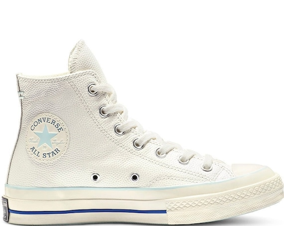 Baby Blue White Converse High Tops Leather 2 tone Vintage 70s Custom Chuck Taylor Kicks w/ Swarovski Crystal All Star Wedding Sneakers Shoes