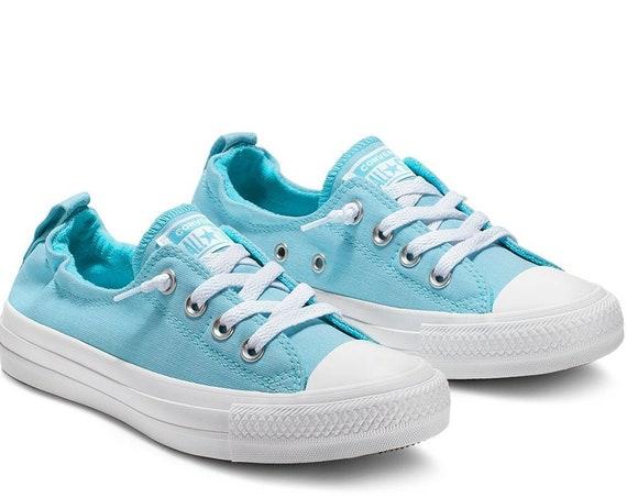 Baby Blue Converse Low Top Shoreline Powder Aqua Slip on Custom w/ Swarovski Crystal Rhinestone Chuck Taylor Bride Wedding Sneakers Shoes