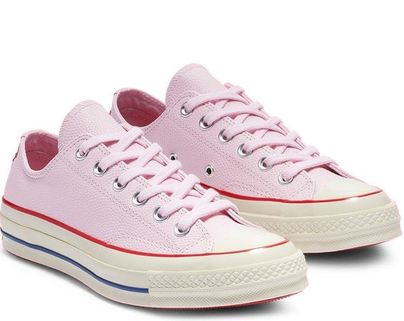 Pink Converse Leather 70s Red Low Top Chuck Taylor All Star Custom w/ Swarovski Crystal Wedding Kicks Bride Sneakers Shoes