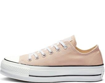 Jade Green Converse Platform lift heels wedge Khaki Canvas Low Top Club w Swarovski Crystal Rhinestone Chuck Taylor All Star Sneakers Shoes